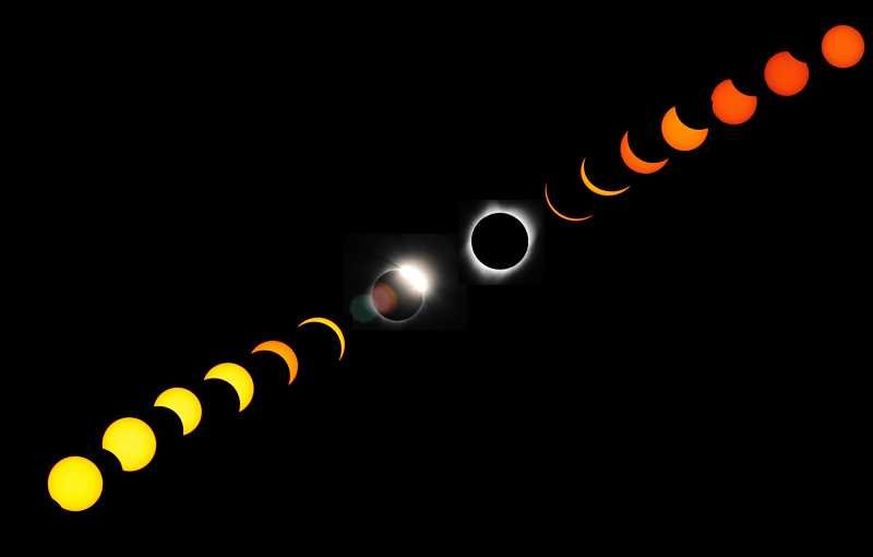 BILL VOLLMER - Photographer Bill Vollmer, of Madras, put together this composite photo from a series of photos of the progression of the total solar eclipse on Aug. 21. Vollmer shot the images from the Madras High School football stadium.