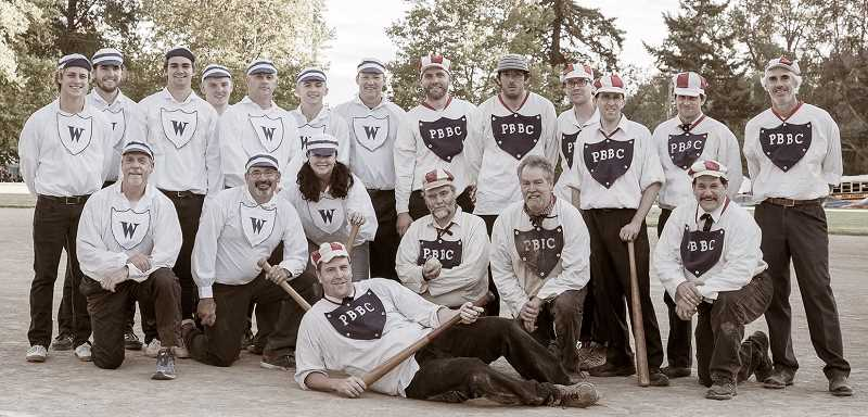 SUBMITTED PHOTO: PIONEER BASE BALL CLUB - Members of the Willamette Base Ball Club of West Linn and the Pioneer Base Ball Club of Portland will square off Sept. 9 as part of Lake Oswego's 'Oregon's Iron Jubilee' celebratiion of the city's industrial heritage and history.