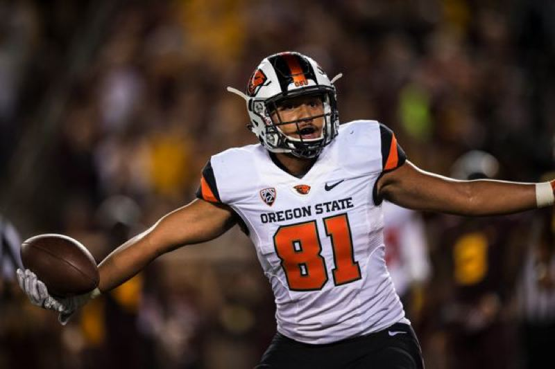 COURTESY: KARL MAASDAM - Tight end Noah Togiai is a key component in the passing game for Oregon State, but he wants to focus on improving his blocking, too.