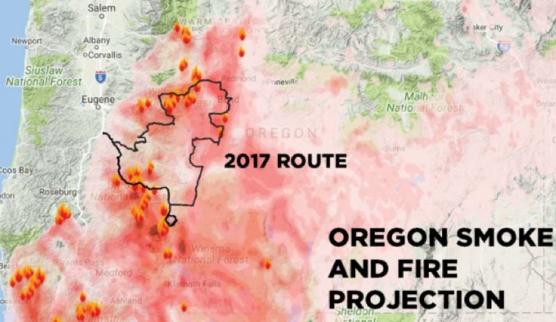 CYCLE OREGON - The Cycle Oregon route sat right in the middle of many raging wildfires in central Oregon.