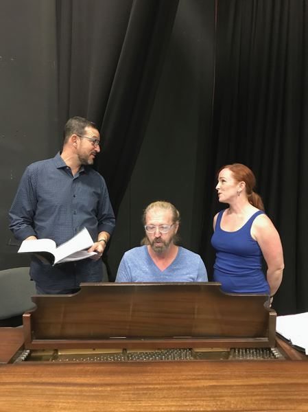 PHOTO BY RON PALMBLAD - Dirk Foley and Kerie Geni Darner join music director David Hastings at the piano as they rehearse a song from 'I Do, I Do,' opening Sept. 8 at the Rose Villa Performing Arts Center.