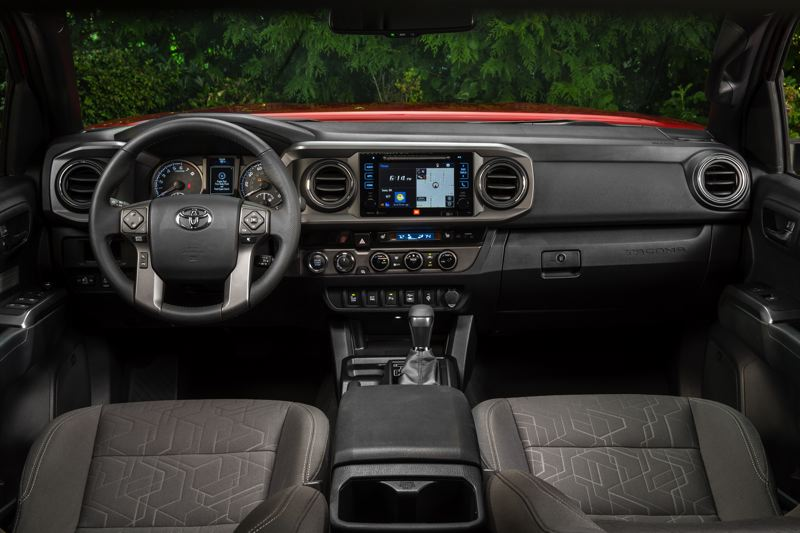 COURTESY TOYOTA - The interiors of all 2017 Toyota Tacomas are comfortable and well-equipped, with option packages that include all the latest automotive technologies.