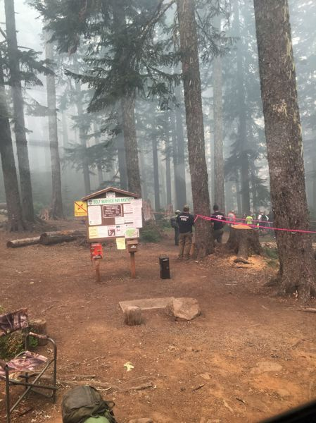 PHOTO COURTESY OF RENEE PADIA - A haze of smoke fills a campsite over the weekend, as hikers travel to avoid wildfires.