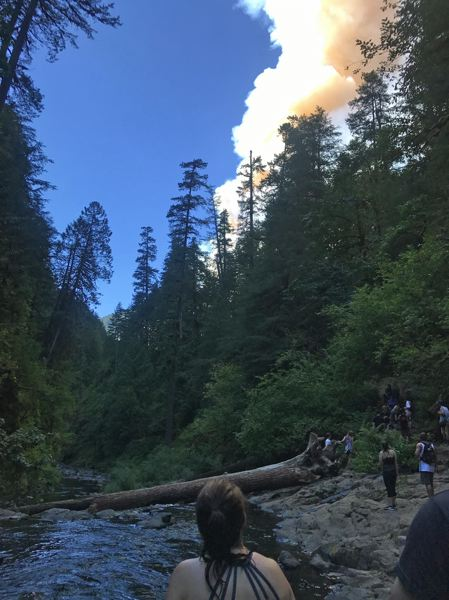 PHOTO COURTESY OF RENEE PADIA - Columns of smoke first warned four OSU alumnae that their Saturday jaunt to Punch Bowl Falls turned into trouble.
