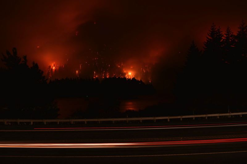 PHOTO COURTESY OF MARK SEGULJIC - The Eagle Creek Fire had grown to 4,800 acres by Tuesday morning.