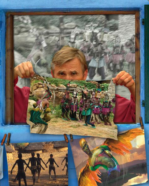 COURTESY: JANIS MIGLAVS - Miglavs, pictured above with his artwork, was unfulfilled by corporate photo jobs when he decided to travel to Africa.
