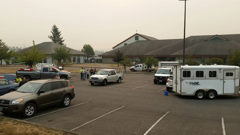 SUBMITTED PHOTO: KIM MOSIMAN - The Corbett Grade School was transformed into a staging ground for volunteers transporting horses and other livestock affected by the Eagle Creek fire.