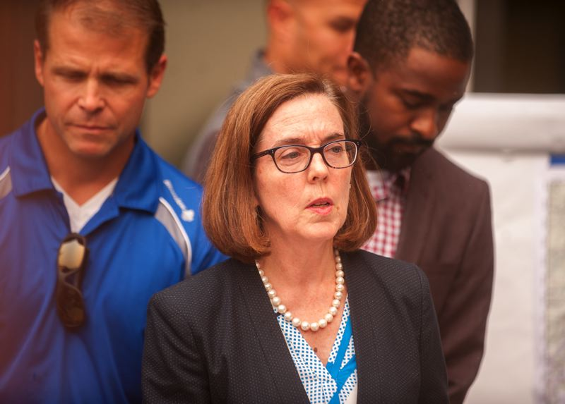 OUTLOOK PHOTO: JOSH KULLA - Gov. Kate Brown addresses reporters during a press conference in Troutdale on Tuesday, Sept. 5.