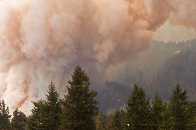 COURTESY PHOTO: U.S. FOREST SERVICE - Wildfire smoke filled the Willamette Valley Tuesday and is expected to hang around for a couple of days, prompting the Oregon Health Authority to issue a warning about spending too much time outside in the smoky air.