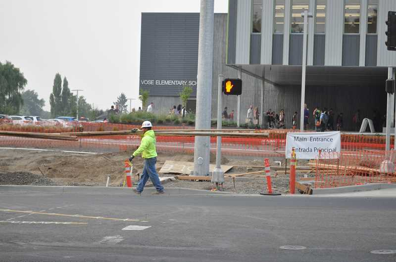 TIMES PHOTO: BLAIR STENVICK - The entrance to the new Vose Elementary building was still under construction as school opened on Tuesday. It should be completed within two to three weeks, according to the district.