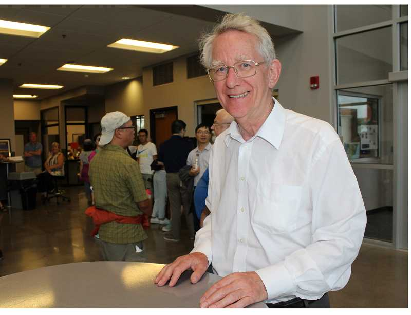 HOLLY M. GILL - Andrew Stunell, a member of the British House of Lords, was delighted by his visit to Madras for the Aug. 21 total solar eclipse. At left, he attends a Lowell Observatory event at the Performing Arts Center Aug. 20. Stunell, 74, camped at Juniper Hills Park, and spent time visiting city officials and touring the city hall and city, before enjoying the eclipse.