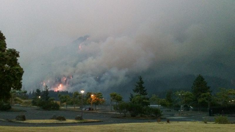 CONTRIBUTED PHOTO: DIANE CASTILLO-WHITE - Fire and flames are visible near the Bonneville Dam during the Eagle Creek wildfire on Monday, Sept. 4.