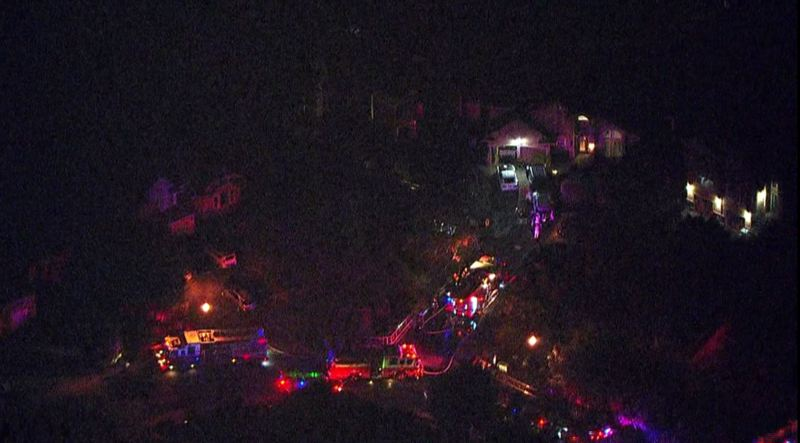 PHOTO BY: KOIN LOCAL 6 - Chopper 6 spotted Clackamas County firefighters saving a woman from her Happy Valley home on Sept. 13.