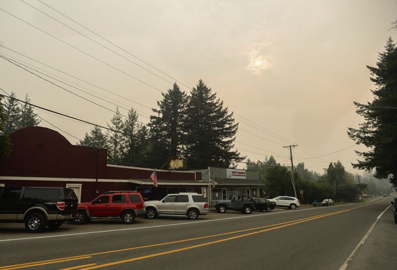 OUTLOOK PHOTO: JOSH KULLA - The Historic Springdale Pub and Eatery was among the only establishments with any business Wednesday afternoon, as the area east of the Sandy River remained under a Level 2 evacuation notice because of the Eagle Creek Fire.