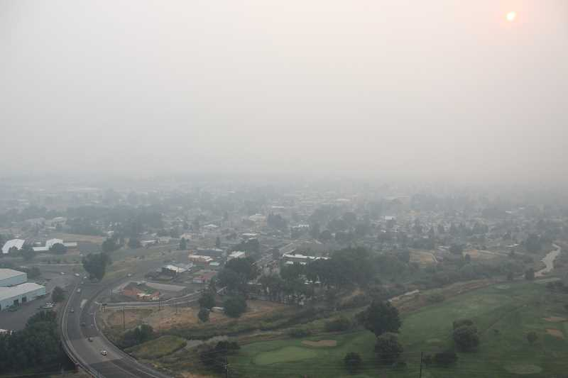 JASON CHANEY - Prineville residents have spent the past few days of this week under a thick blanket of wildfire smoke that has poured into the community from all over Oregon.