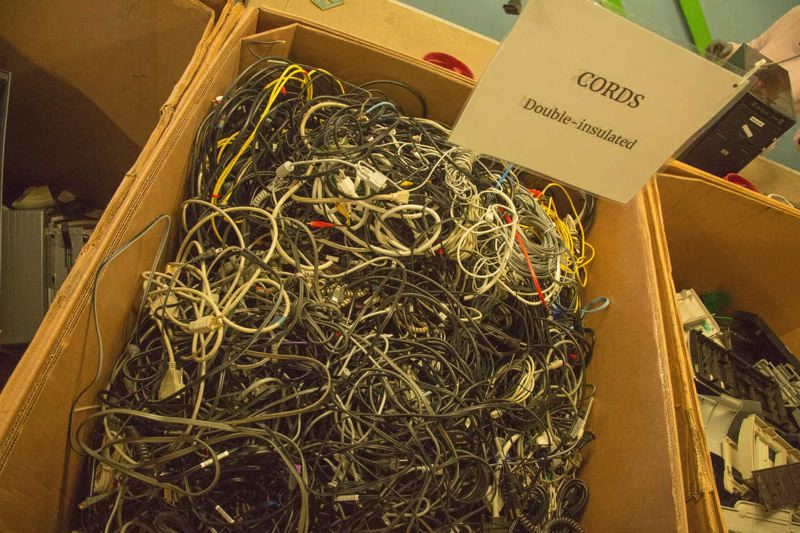 COURTESY OF METRO  - Recycled cords at Free Geek await recycling or reuse.