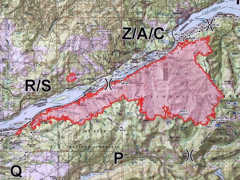 OUTLOOK PHOTO: JOSH KULLA - A map shows the current spread of the Eagle Creek wildfire on Friday, Sept. 8.