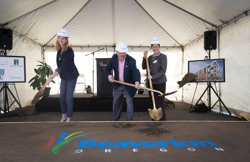 PAMPLIN MEDIA GROUP: FILE PHOTO - Kali Bader, vice president of Rembold Real Estate Development, Beaverton Mayor Denny Doyle and Metro Councilor Kathryn Harrington participate in the groundbreaking event of The Rise Central.