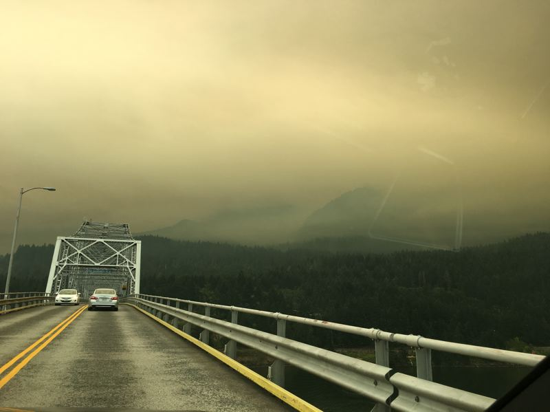 SUBMITTED PHOTO: LIZ FREULER - Crossing the Bridge of the Gods leaving Washington and heading into Oregon the morning of Sept. 3, the clear-blue skies of the previous day were replaced with thick smoke.