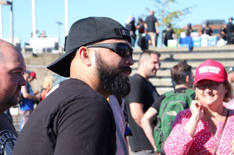 KOIN 6 NEWS - Patriot Prayer organizer Joey Gibson at the Vancouver rally on Sunday