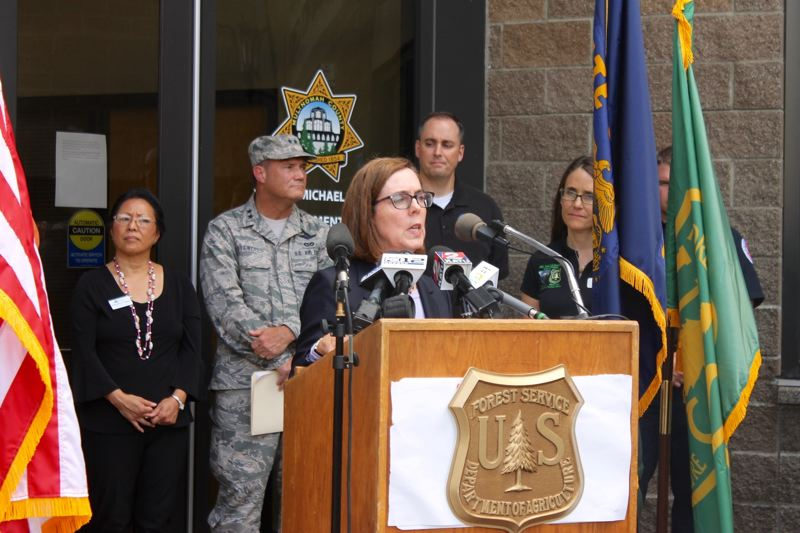 TRIBUNE PHOTO: LYNDSEY HEWITT - Gov. Kate Brown's top priority is reopening I-84.