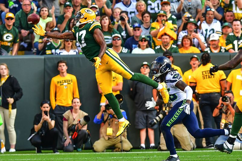 PHOTO BY MICHAEL WORKMAN - The Packers weren't perfect on offense, either, with this pass sailing beyond the reach of Davante Adams, covered by Shaquill Griffin.
