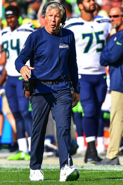 PHOTO BY MICHAEL WORKMAN - Coach Pete Carroll tries to fire up the Seahawks.