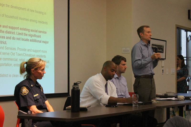 TRIBUNE PHOTO: LYNDSEY HEWITT - Marc Jolin, director of the Joint Office of Homeless Services, tells community members and business owners that they must continue to provide an emergency response.