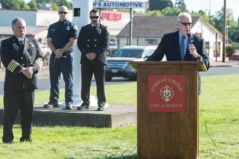 NEWS-TIMES PHOTO: CHRISTOPHER OERTELL - Forest Grove Mayor Pete Truax speaks to the crowd.