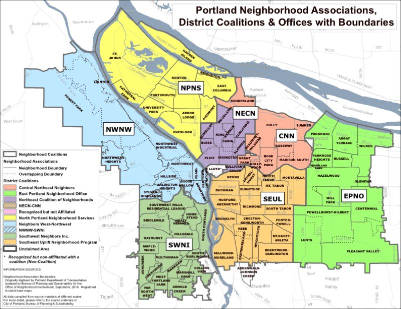 CITY OF PORTLAND - The city of Portland's seven neighborhood coalitions include: Central Northeast Neighbors (CNN), East Portland Neighborhood Office (EPNO), Northeast Coalition of Neighborhoods (NECN), North Portland Neighborhood Services (NPNS), Neighbors West-Northwest (NWNW), Southwest Neighbors Inc. (SWNI), and Southeast Uplift (SEUL).
