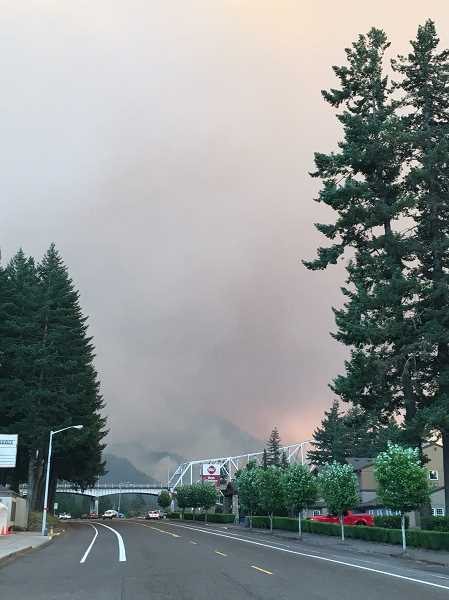 SUBMITTED PHOTO: LAYLA MCLEAN - Smoke from the Eagle Creek Fire can be seen from Wa Na Pa Street in Cascade Locks, with the Oregon side of the Bridge of the Gods in the foreground.