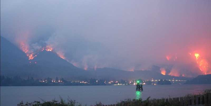 SUBMITTED PHOTO: LAYLA MCLEAN - A view of the Eagle Creek Fire from the Washington side of the Columbia River.
