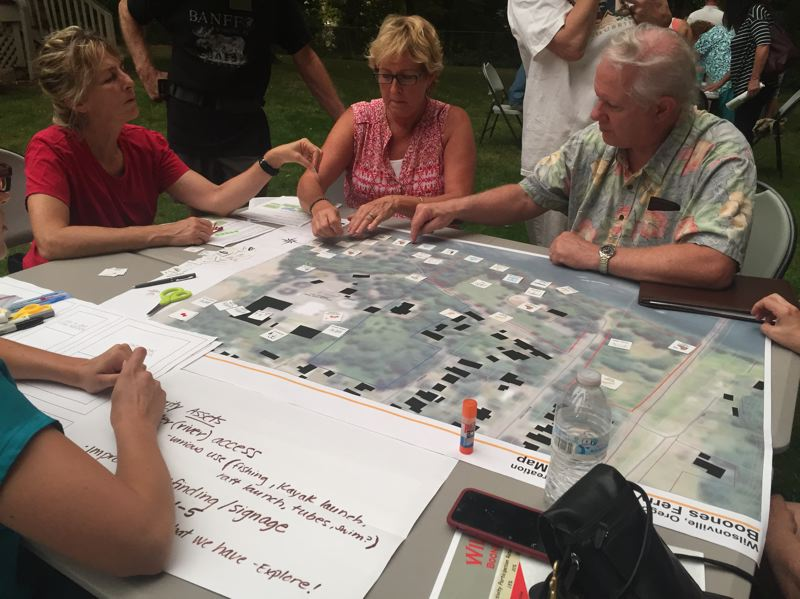 SPOKESMAN PHOTO: CLAIRE GREEN - Split into groups, attendees mapped out what features they would like to see added to Boones Ferry Park — including options for river access and community gardens.