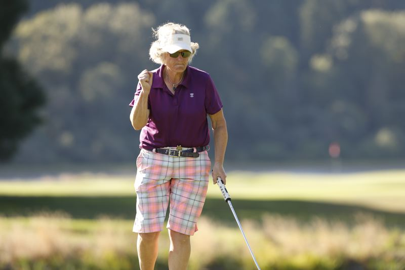 COPYRIGHT USGA/STEVEN GIBBONS - Patricia Cornett holes a putt en route to a berth in the quarterfinals of the U.S. Senior Women's Amateur hosted by Waverley Country Club.