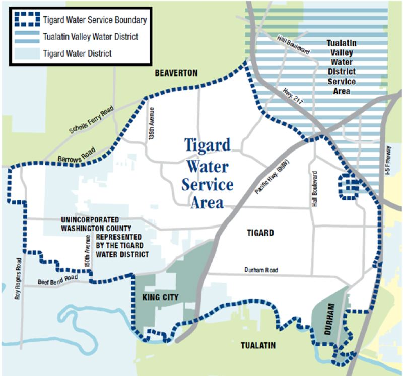 COURTESY OF THE CITY OF TIGARD - A map shows the area served by Tigard water outlined by a blue dotted line. The area shaded with horizontal bars is the part of Tigard served by the Tualatin Valley Water District.