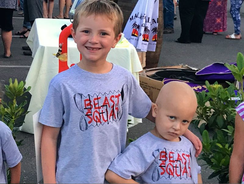 CONTRIBUTED PHOTO - Bowen and Easton Schroeder showing off their 'Beast Squad' T-shirts.