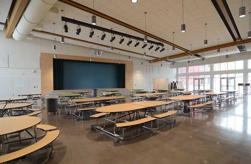 SPOKESMAN PHOTO: VERN UYETAKE - This stage, meant for plays, assemblys and more, has two options. It opens up to a smaller venue in the commons room and a larger venue in the gym.