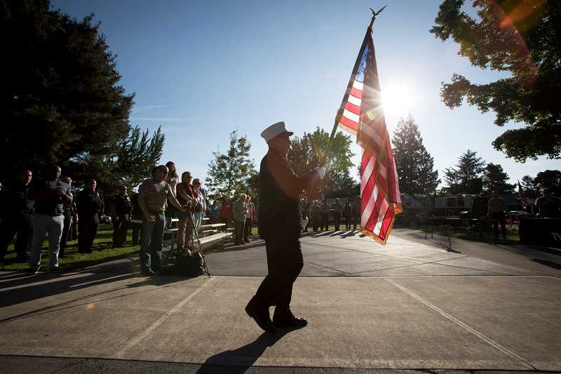 THE TIMES: JAIME VALDEZ - People gathered on Monday, Sept. 11 in remembrance of the attacks of Sept. 11, 2001, at Beaverton's Veterans Memorial Park.
