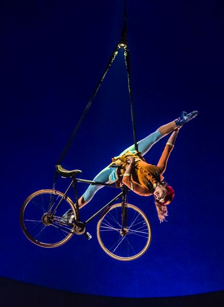 COURTESY: MARTIN GIRARD/SHOOTSTUDIO.CA - Aerial Bicycle has played in recent years by France native Anne Weissbecker, who also performs in Upside Down World.