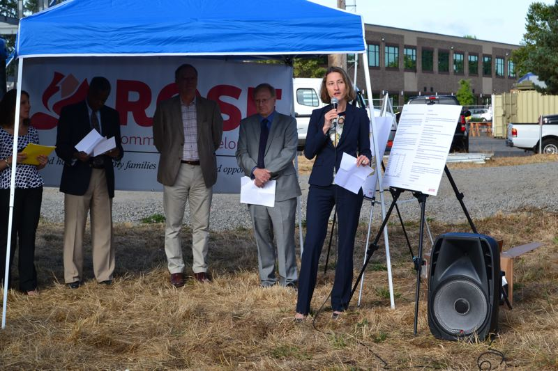 PAMPLIN MEDIA GROUP: JULES ROGERS - Kimberly Branam, executive director of Prosper Portland, offered comments at the event.
