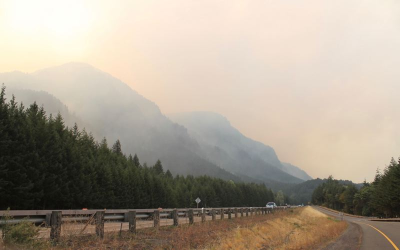 TRIBUNE PHOTO: LYNDSEY HEWITT - I-84 has reopened. Areas of the Columbia River Gorge remain extremely smoky.