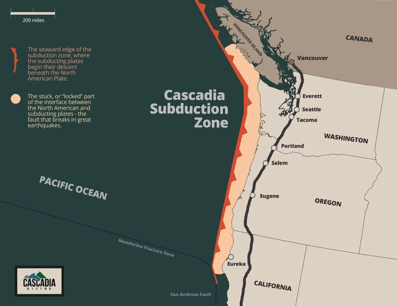 COURTESY OF THE FEDERAL EMERGENCY MANAGEMENT AGENCY - A map of the Cascadia subduction zone shows how close it is to major population centers in Oregon, Washington and British Columbia.