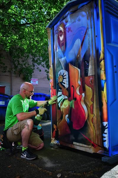 PHOTO COURTESY: ARTA POTTIES - An Arta Pottie recently was installed near the Reed Opera House in Salem. The program is coming to Oregon City later this month.