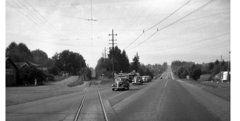 PHOTO COURTESY: PORTLAND ARCHIVES - This is a view of McLoughlin Boulevard also known as Super Highway 99E, pictured in 1946.