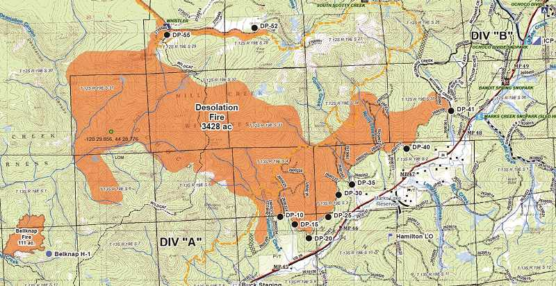 MAP COURTESY OF CENTRAL OREGON FIRE INFO - The map shows the location of the Desolation fire as of Sunday. The fire grew to about 3,200 acres, but stayed within planned containment lines.