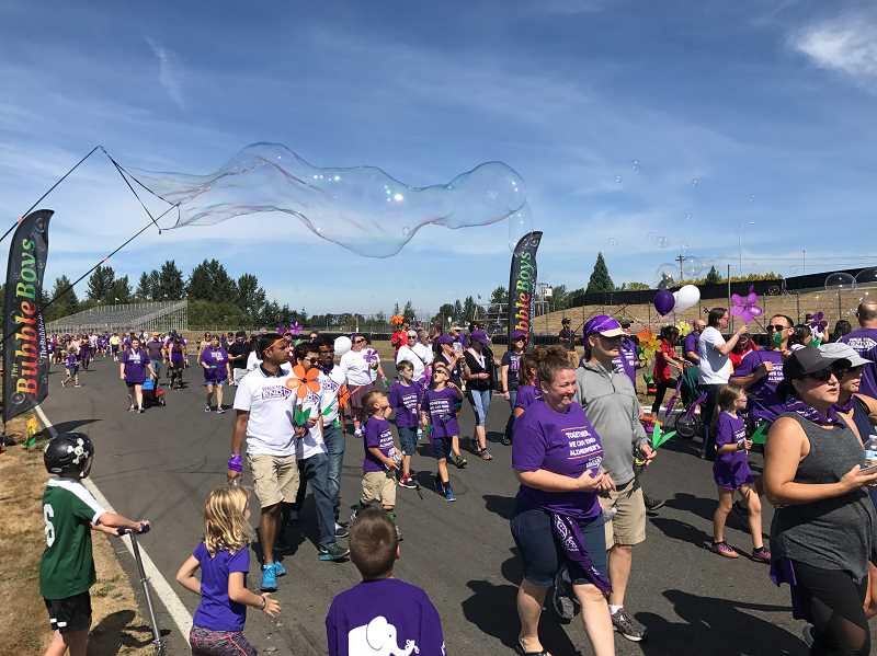 SUBMITTED PHOTO - At the 2017 Walk to End Alzheimers Portland Sept. 10, walkers from around the state gathered to show their support for those living with the disease and raise money to find a cure.