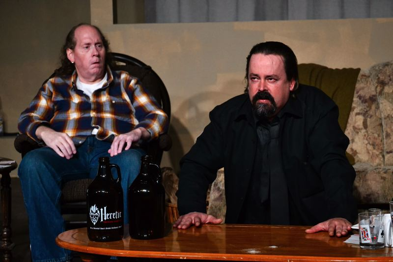POST PHOTO: BRITTANY ALLEN - Sharky (James Bass) looks on in terror as Mr. Lockhart (Howard Bickle, Jr.) describes what hell is like.