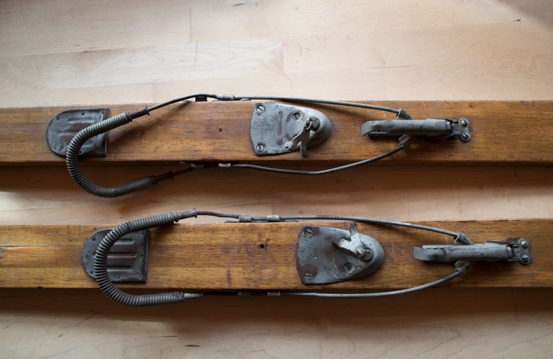 TIMES PHOTO: JAIME VALDEZ - Skis have evolved over the years, as evidenced by these old metal bindings intended to keep the user's feet in place.