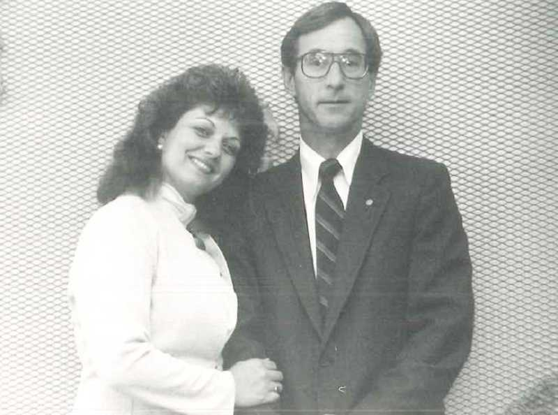 SUBMITTED PHOTO - Lynn and Doug Kowaleski pose inside the new Bel-Air Colonial Funeral Home's chapel in 1987.