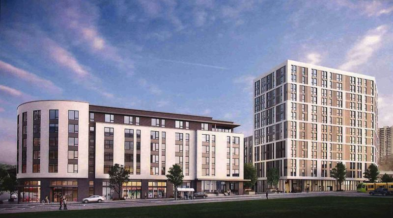 SUBMITTED: BRIDGE HOUSING, COURTESY ANKROM MOISAN ARCHITECTS - The western tower (right) will include 13 floors with 203 units of affordable housing at a projeted cost of $79 million, and the market-rate building on the left is projected to cost $67 million.